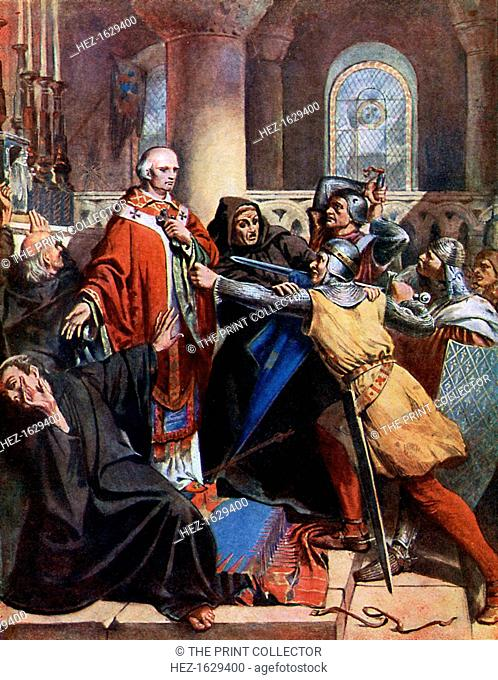 'Death of Becket', 1170, (19th century). Thomas a Becket, Archbishop of Canterbury, was murdered by knights in Canterbury Cathedral on 29 December 1170