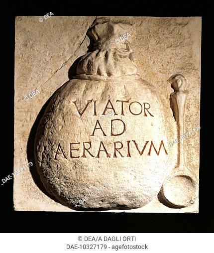Roman civilization, 1st century A.D. Relief portraying a round bag with the inscription 'Viator ad Aerarium' used by Viatores (employees) of the National...