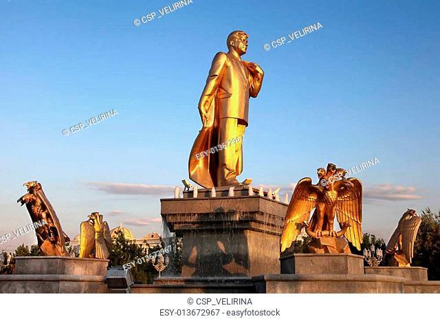 Niyazov monument in Independence Park. Ashkhabad. Turkmenistan