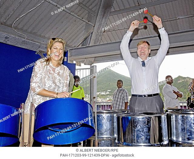 King Willem-Alexander and Queen Máxima of The Netherlands visit the Shelter in Festival Village at St Maarten, on December 2, 2017