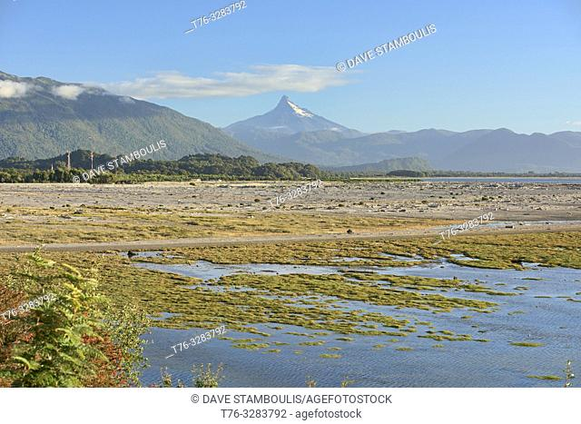 View of Corcovado Volcano across the bay from Chaiten, Patagonia, Region de los Lagos, Chile