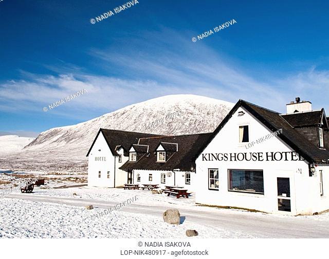 Scotland, Highland, Glencoe, Kings House Hotel in the remote snow covered landscape at Glencoe