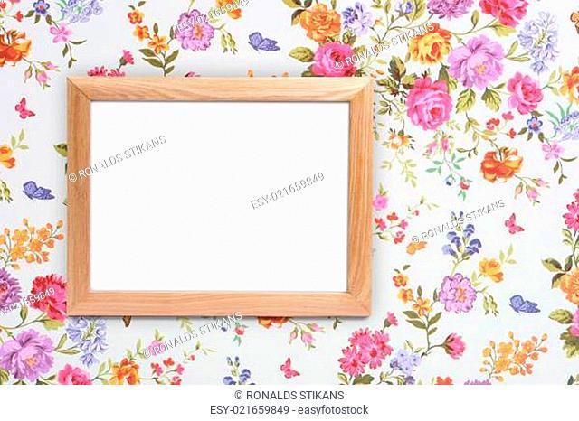 wood frame on vintage floral background