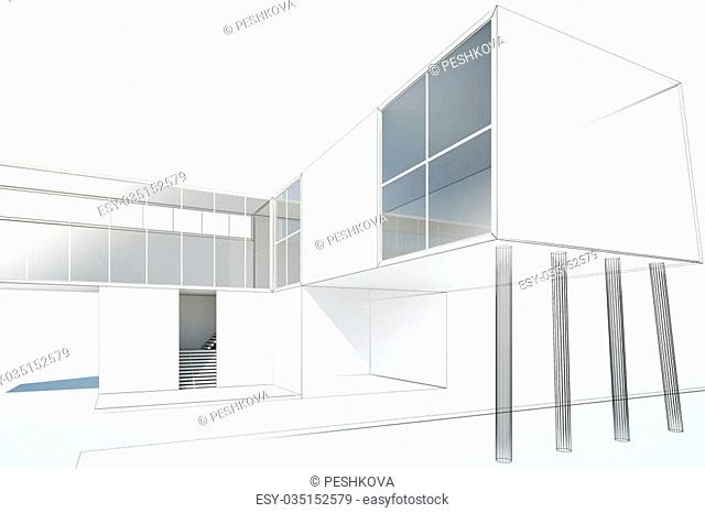 drawing two-storey modern cottage, 3d rendering