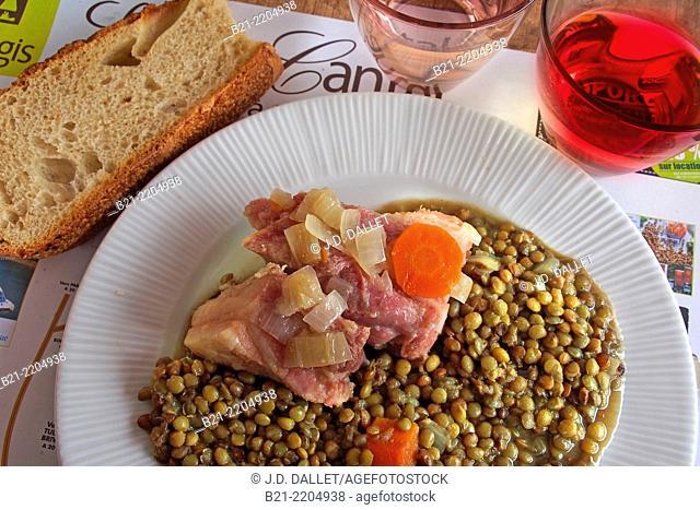 Petit Salé (salted pork) with lentils, Maurs, Cantal, Auvergne, France