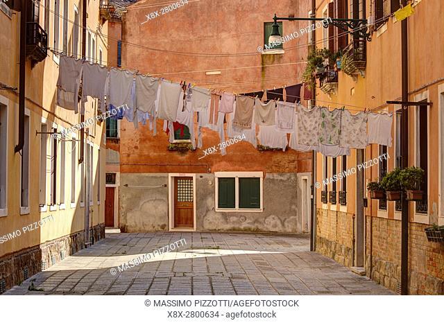 Laundry in Castello district, Venice, Italy