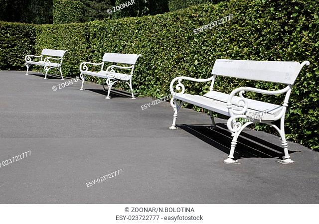 Row of white benches in a park