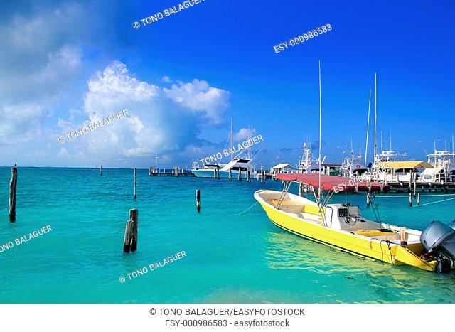 Isla Mujeres Mexico boats turquoise Caribbean sea Quintana Roo