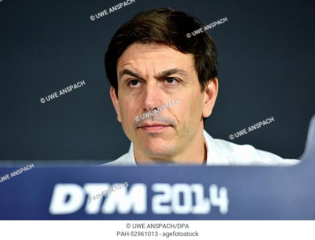 Head of mercedes motorsport Toto Wolff speaks during a press conference at the Hockenheimring prior the last race of the season of the German Touring Car...