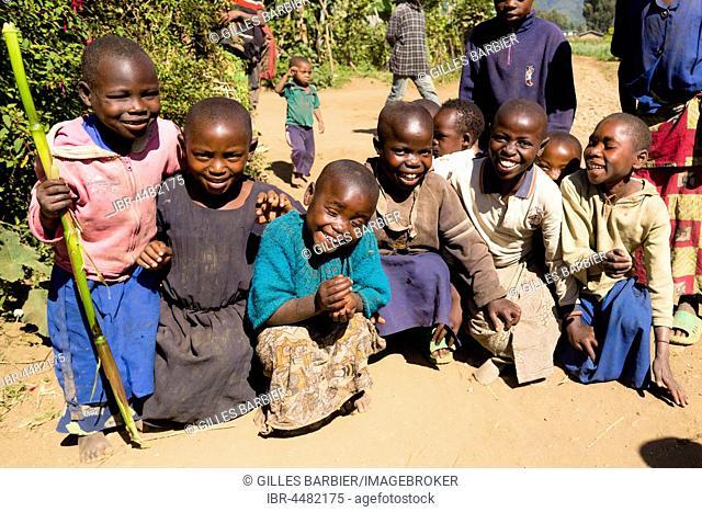 Children of a community of ex-poachers near the Volcanoes National Park, Rwanda