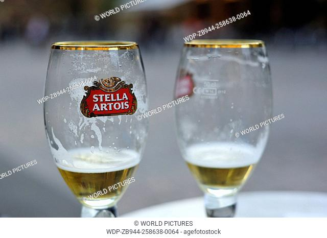 empty beer glasses, Place de la Liberte, Sarlat-la-Caneda, Dordogne Department, Aquitaine, France