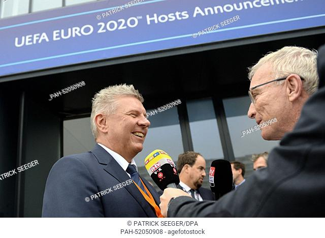 Lord Mayor Dieter Reiter (L) of Munich talks to journalists ahead of the UEFA Euro 2020 Hosts Announcement Ceremony at the Espace Hippomene in Geneva