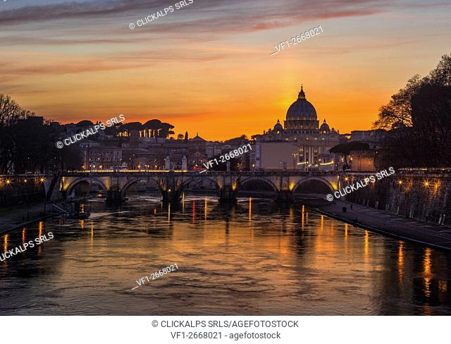 Rome, Lazio, Italy. The St. Peter Basilica at sunset
