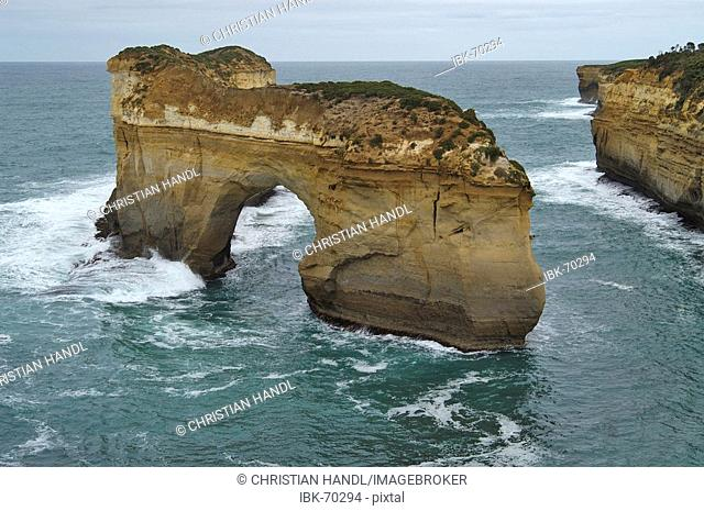Rocks in the sea coast at the Loch Ard Gorge Port Campbell NP Victoria Australia