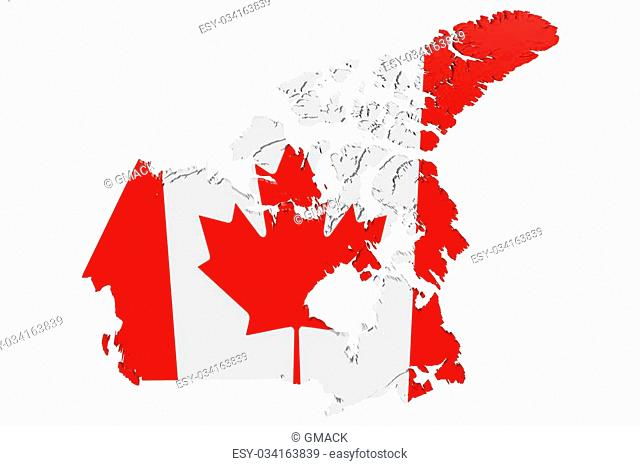 Map of Canada in the colors of the national flag