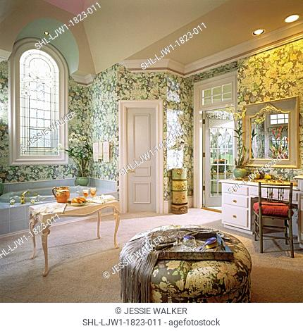 BATHROOMS: Masterbath, soft florals, wall paper, whirlpool bath, gray color scheme, large arched stained glass window, transom, crown molding, dressing table