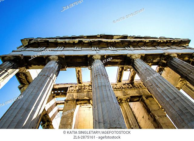 Different view of The Temple of Hephaestus. That temple is dedicated to the god of metal-working and craftsmanship, is located on Agoraios Kolonos