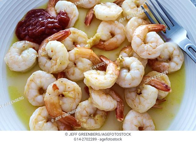 Florida, Miami Beach, shrimp, prawn, fried, olive oil, coctail sauce, seafood, food, plate