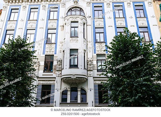 Art nouveau architecture in Riga - Alberta iela 8 - living house by Mikhail Eisenstein built in 1903. Riga, Latvia, Baltic states, Europe