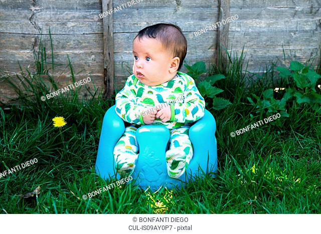 Portrait of cute baby boy sitting in garden on baby support seat