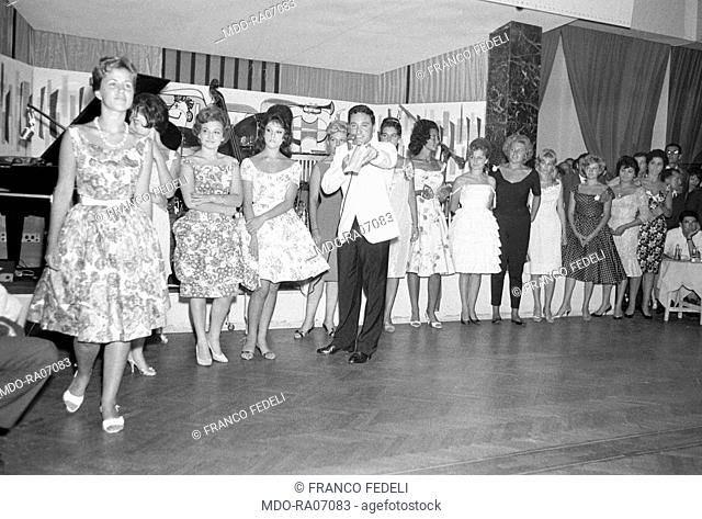 Italian actress Stefania Sandrelli taking part in a beauty competition in a club somewhere in Versilia. Italy, 1960