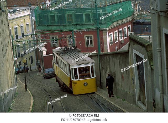 incline, lisbon, tracks, pedestrian, portugal, streetcar