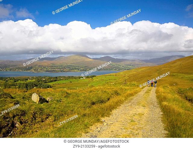 Hikers on Boreen, Bear Island, County Cork, Ireland