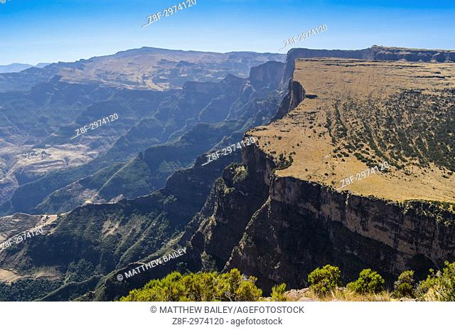 Looking out over the beautiful landscapes and precipitous cliffs of the Simien Mountains in Northern Ethiopia