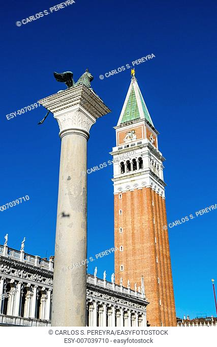 Winged Lion Column & Campanile, St. Mark's Sq, Venice, Italy