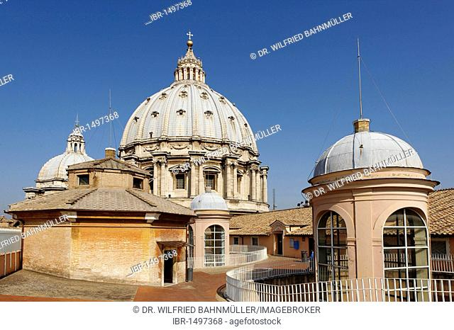 On the roof of the Basilica di San Pietro, St. Peter's Basilica, Vatican, Rome, Italy, Europe