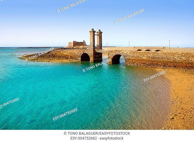 Arrecife Lanzarote Castillo San Gabriel castle and Puente de las Bolas bridge