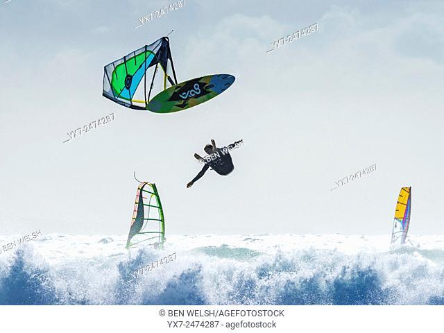 Windsurfing. Tarifa, Cadiz, Costa de la Luz, Andalusia, Spain