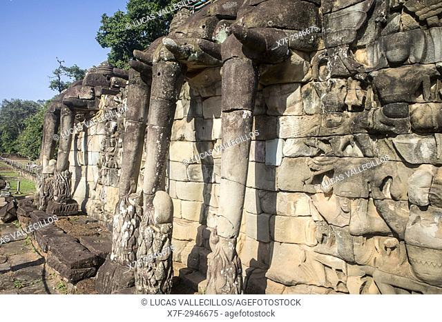 Terrace of the Elephants, Angkor Thom, Angkor Archaeological Park, Siem Reap, Cambodia