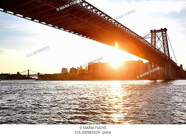 View of East river and Williamsburg Bridge, New York City, USA