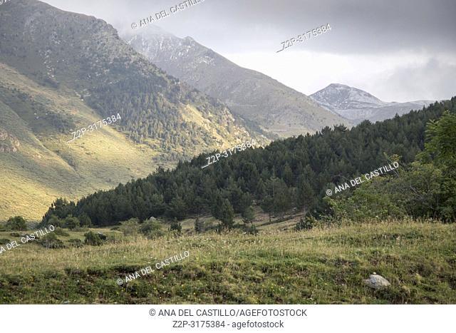 Mountain landscape Pyrenees in Boi valley Lleida Catalonia Spain