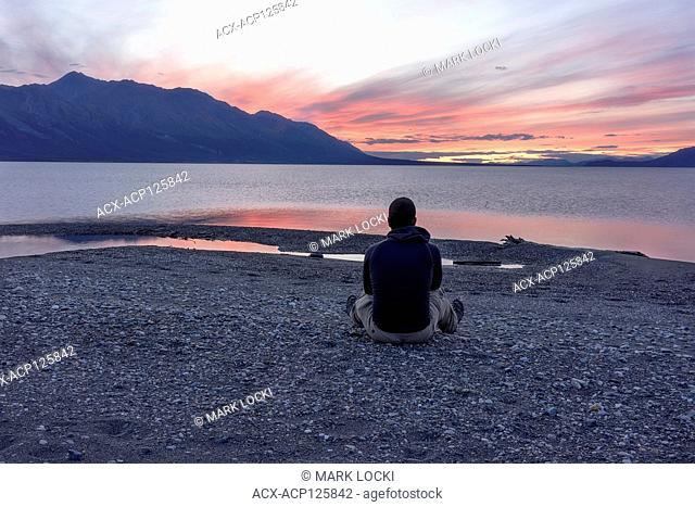 Self-Portrait of a male adult enjoying the sunset at Kluane Lake, Yukon Territory, Canada