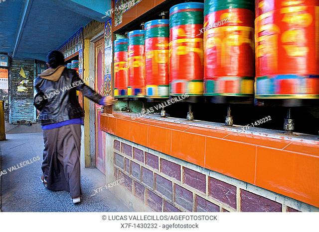 Prayer Wheels, in Main Bazar street,McLeod Ganj, Dharamsala, Himachal Pradesh state, India, Asia