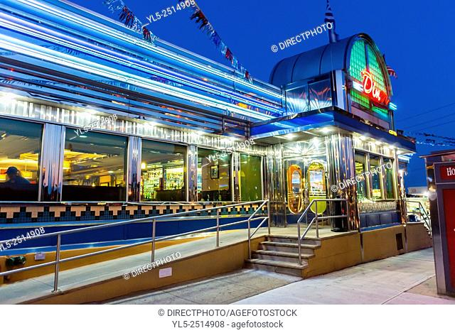 New York City, USA, Old American Bistro Restaurant Diner in Brooklyn at Night