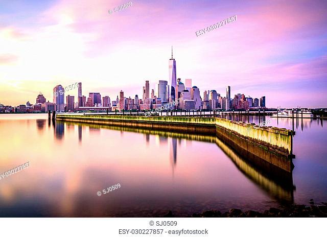 Beautiful sunrise view of Downtown Manhattan, shot from Jersey City