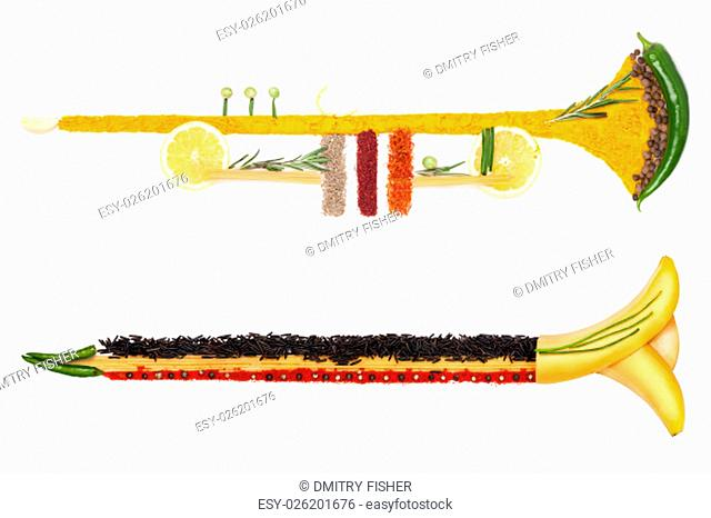 A colourful photo of the trumpet made of fruits, vegetables and spices