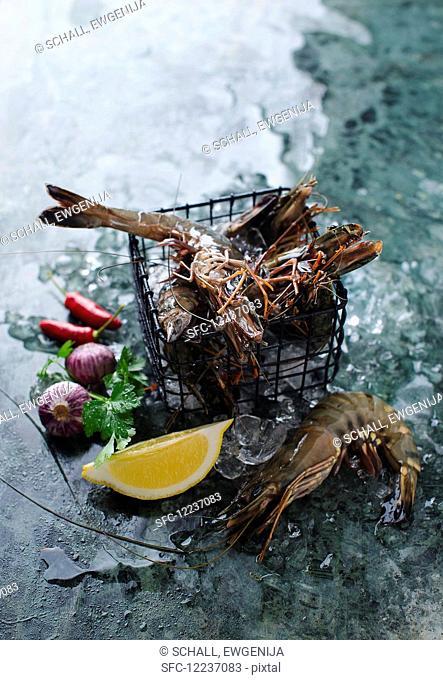 Fresh prawns in a wire basket