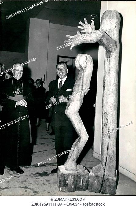 Nov. 11, 1959 - Sacred Art show opens in Paris: The Annual 'Sacred Art' show opened at the museum of Modern Art, Paris today. Photo shows M