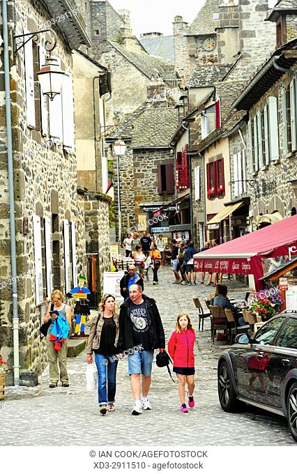 Rue du Belffroi, Salers, Cantal Department, Auvergne, France