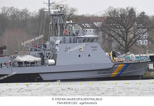 A coastal protection ship for Saudi Arabia can be seen at the Peene dockyard of the Luerssen dockyard group in Wolgast, Germany, 16 March 2017