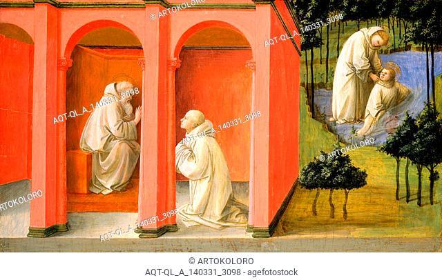 Fra Filippo Lippi, Saint Benedict Orders Saint Maurus to the Rescue of Saint Placidus, Italian, c. 1406-1469, c. 1445-1450, tempera on panel