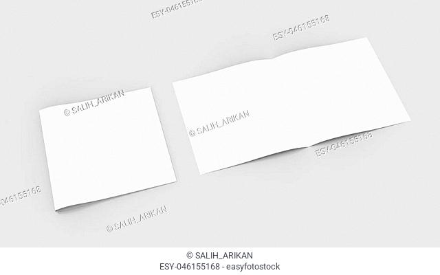 Spuare bi-fold , half fold brochure mock up. 3D illustrating