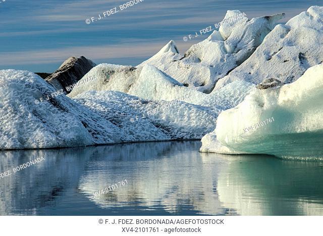 Jokulsarlon lagoon icebergs. Iceland