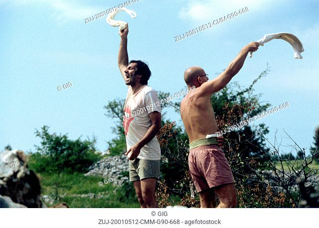 May 12, 2001; Paris, FRANCE; BRANKO DJURIC as Ciki and RENE BITORAJAC as Nino in the war drama 'No Man's Land' directed by Danis Tanovic