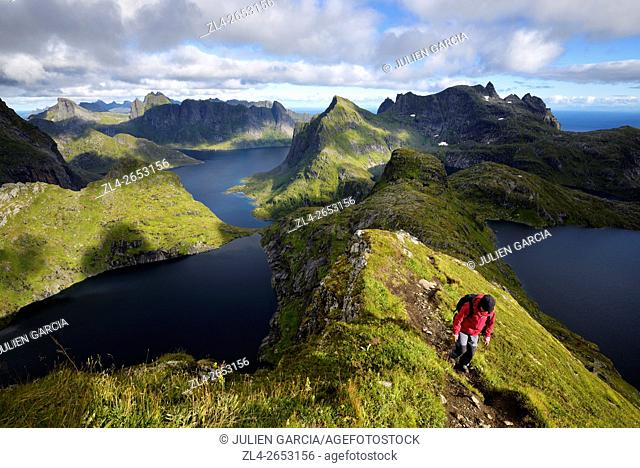 Norway, Nordland, Lofoten islands, Moskenesoy island, hiking to the summit of Hermannsdalstinden (the highest mountain on the island at 1029m)