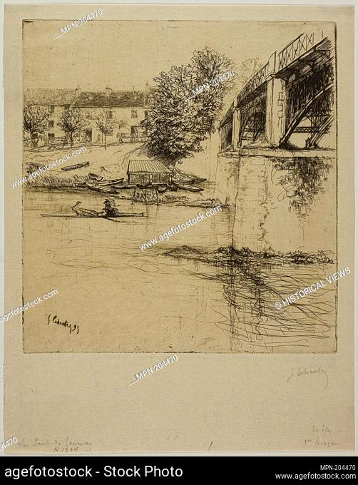 The Bridge at Gournay, from the Side - 1895 - Gustave Leheutre French, 1861-1932 - Origin: France, Date: 1895, Medium: Etching and plate tone on cream Japanese...